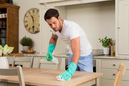 Male Cleaning the Kitchen